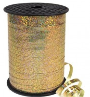 228m Holografisches Geschenkband gold