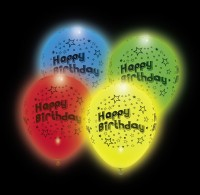 4 Happy Birthday LED Ballons Starshine 25cm