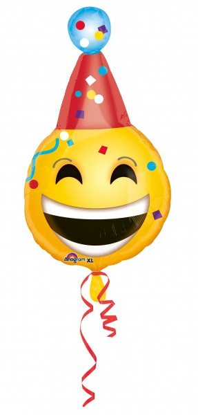 Foil balloon Happy Smiley with party hat