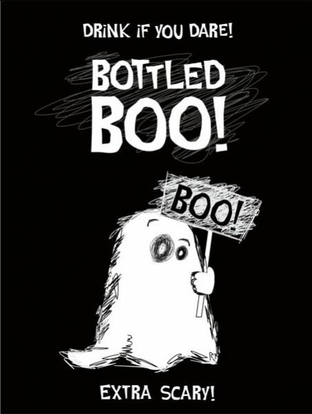 10 etiquetas autoadhesivas en botella Boo