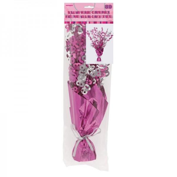 Happy Pink Sparkling 80th Birthday Tischfontäne 42cm