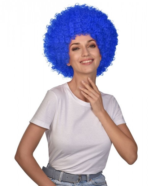 Perruque Afro Carnival bleu royal