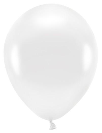 10 Eco metallic Ballons weiß 26cm
