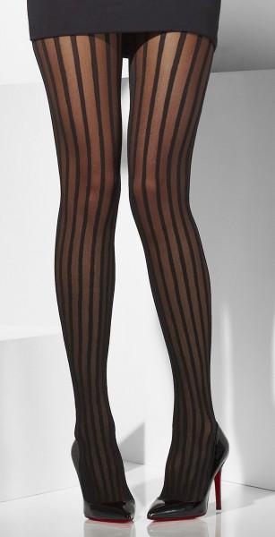 Longitudinal striped tights in black