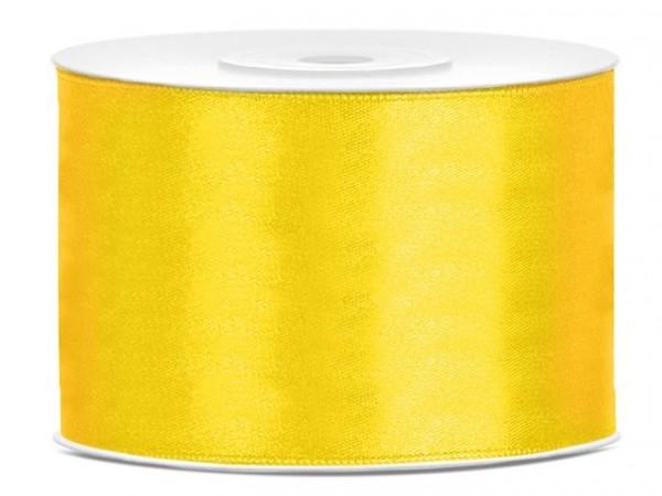 25m satin ribbon yellow 5cm wide