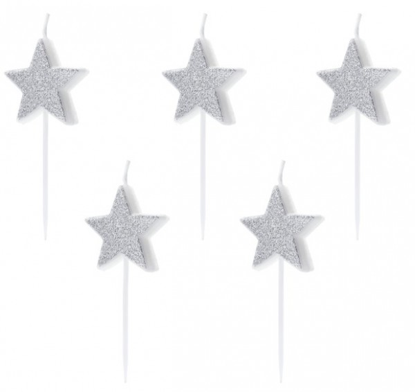 5 Glittering Star Cake Candles 3.5cm