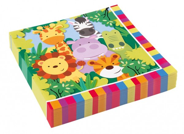 20 serviettes de table safari 33cm