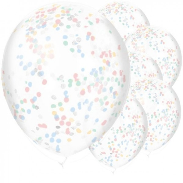 6 Babyparty Konfetti-Ballons bunt 28cm