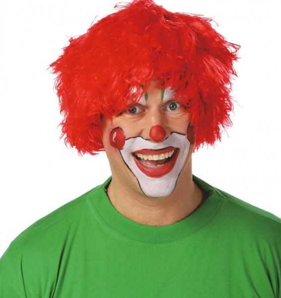 Perruque de clown à franges rouge