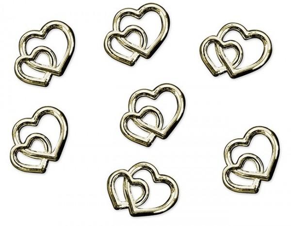 25 coeurs de mariage saupoudrés d'or