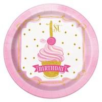 8 Prinzessin Alice 1.Geburtstag Pappteller Rosa 18cm