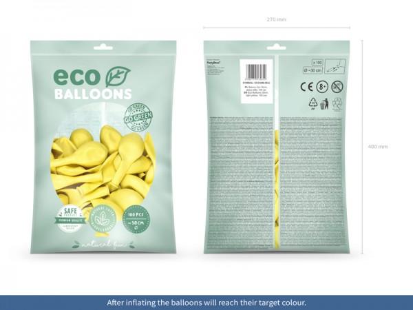 100 Eco metallic balloons lemon yellow 30cm