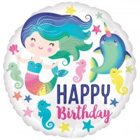Meerjungfrau und Narwal Geburtstags Folienballon 46cm