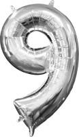 Mini Folienballon Zahl 9 silber 35cm