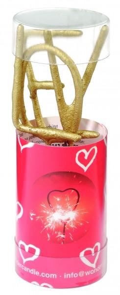 4 Goldene Wunderkerzen Love 11cm