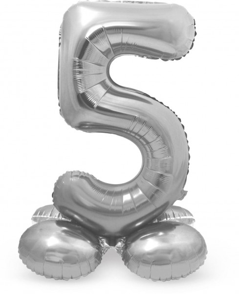 Number 5 balloon silver 72cm