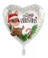 Merry Christmas Folienballon Rentier 45cm