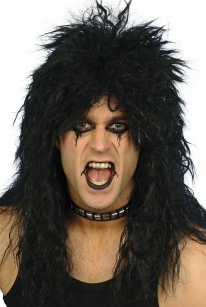 Schwarze Rockstar Perücke