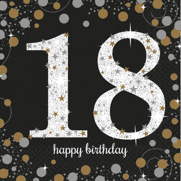 18.Geburtstag Sparkling Happy Birthday Serviette Be Glamorous 16er Set 1