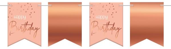 Feliz cumpleaños banderín cadena 6m elegante rubor oro rosa