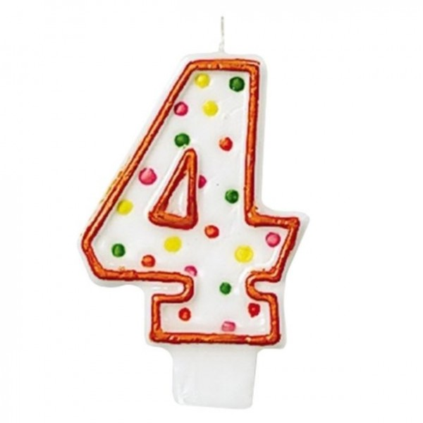 Number 4 cake candle colorful dots red 7.6cm