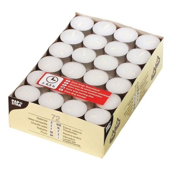 72 Teelichter 39mm weiß 6,5h