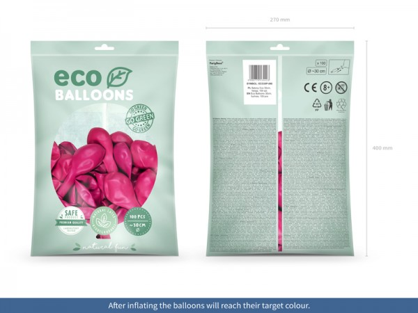 100 Eco Pastell Ballons pink 30cm