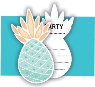 6 Einladungskarten Ananas Augenblick