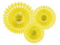 3 Papierrosetten Kate gelb
