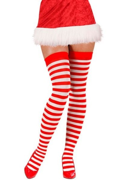 Rot-Weiße Weihnachts Kniestrümpfe