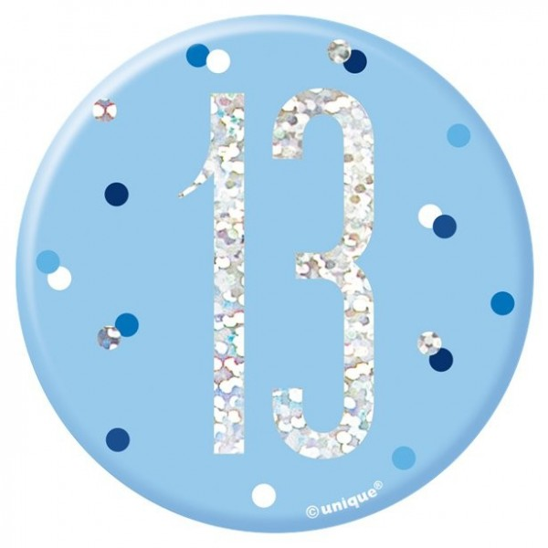 13. Geburtstags-Button blue dots 7cm