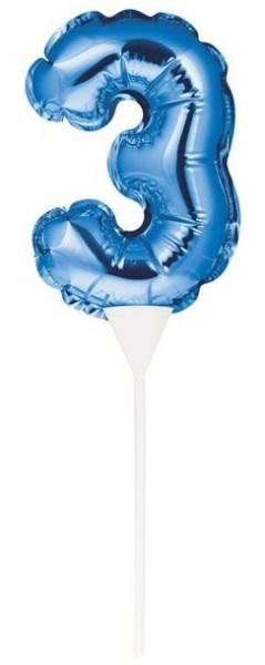 Niebieski topper na tort z numerem 3 13cm