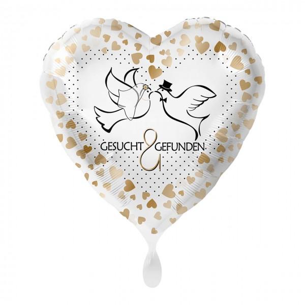 Lovebirds heart foil balloon 43cm
