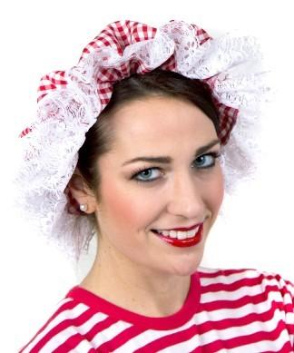 Karierte Olivia Badehaube In Rot-Weiß
