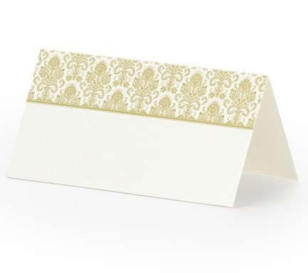 25 place cards with gold ornaments