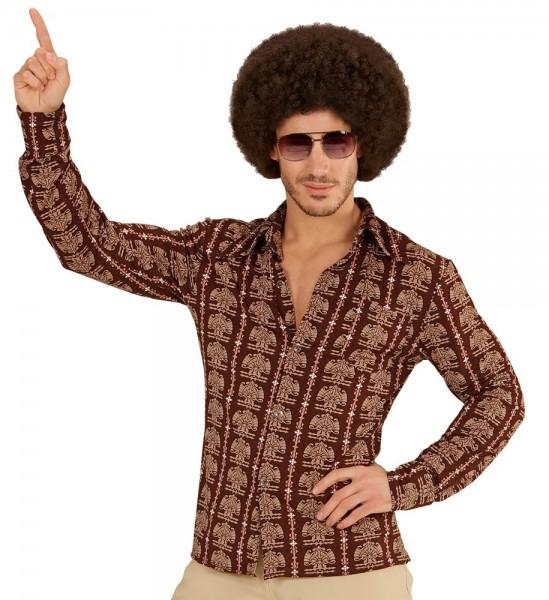 Braunes 70er Jahre Retromuster Hemd