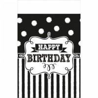 Black & White Birthday Tischdecke 2,59 x 1,37m
