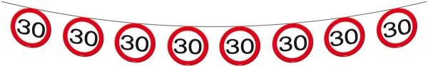 Verkehrsschild 30 Wimpelkette 12m