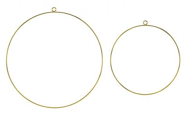 2 cintres en métal doré ronds