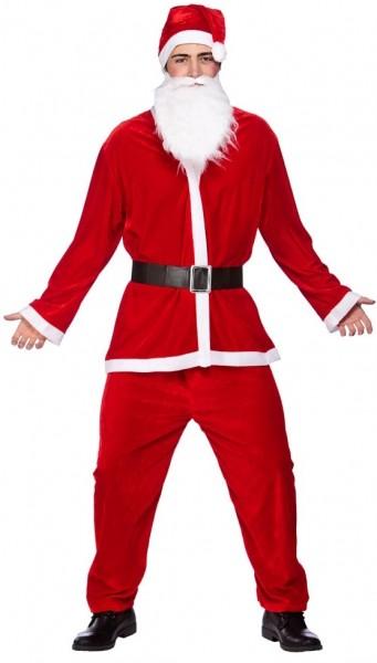 Rotes Velour Weihnachtsmannkostüm
