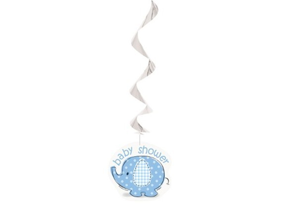 3 elephant baby party swirl hanging decoration