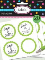 20 self-adhesive labels with a kiwi green flower border