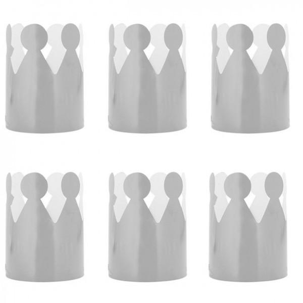 6 Silberne Partykronen für Mädchen