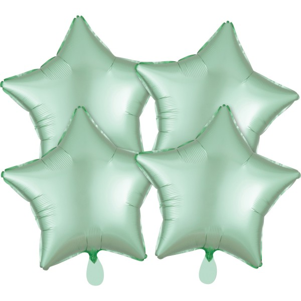 4 satin star balloons mint green 43cm