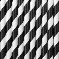10 Gestreifte Papier Strohhalme schwarz 19,5cm