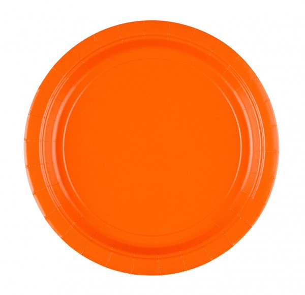 8 Party Pappteller Oranje 22,8cm