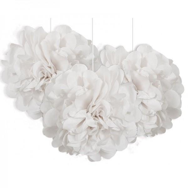 Fluffy pompon wit 23cm