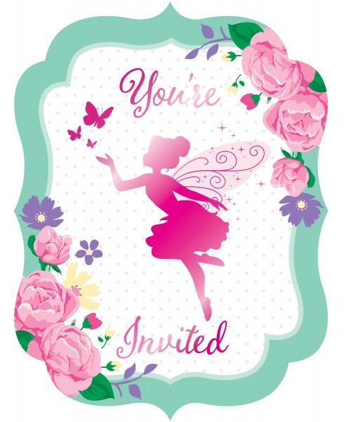 8 Flower Fairy Einladungskarten
