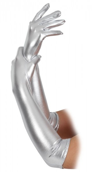 Silberne Metallic Handschuhe
