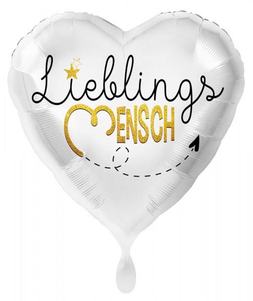 Lieblingsmensch Herz Folienballon weiß 43cm